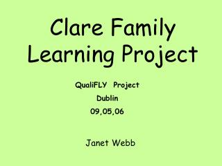Clare Family Learning Project