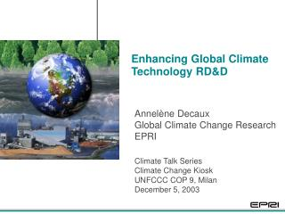 Enhancing Global Climate Technology RD&D
