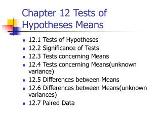 Chapter 12 Tests of Hypotheses Means