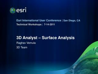 3D Analyst – Surface Analysis