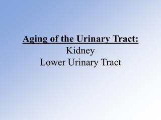 Aging of the Urinary Tract: Kidney Lower Urinary Tract