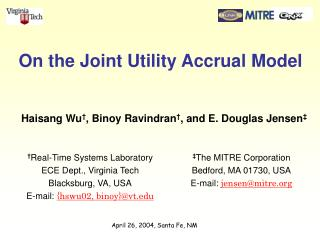On the Joint Utility Accrual Model