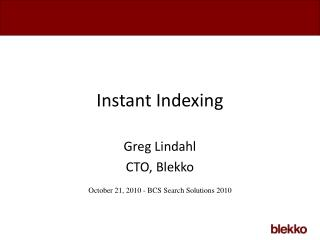 Instant Indexing