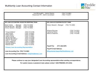 Multifamily Loan Accounting Contact Information