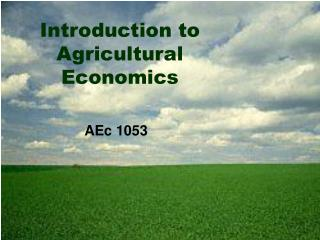 Introduction to Agricultural Economics