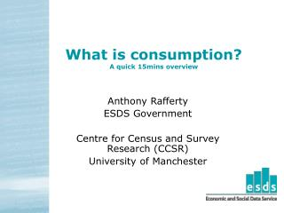 What is consumption? A quick 15mins overview