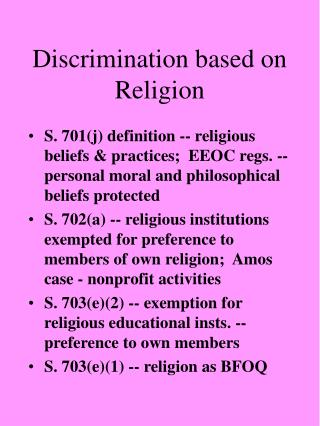 Discrimination based on Religion