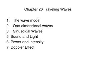 Chapter 20 Traveling Waves
