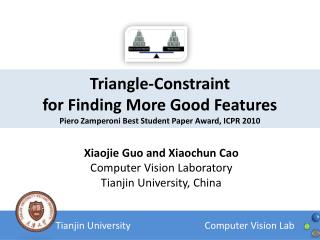 Triangle-Constraint  for Finding More Good Features Piero Zamperoni Best Student Paper Award, ICPR 2010