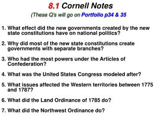 8.1  Cornell Notes