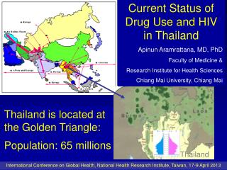 Thailand is located at the Golden Triangle: Population: 65 millions