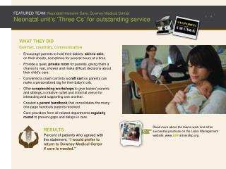 FEATURED TEAM: Neonatal Intensive Care, Downey Medical Center Neonatal unit ' s ' Three Cs ' for outstanding service
