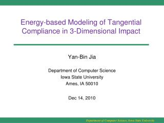 Energy-based Modeling of Tangential Compliance in 3-Dimensional Impact