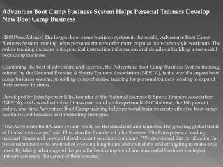 Adventure Boot Camp Business System Helps Personal Trainers