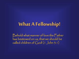 What A Fellowship!