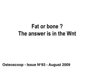 Fat or bone ? The answer is in the Wnt