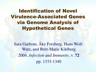 Identification of Novel Virulence-Associated Genes via Genome Analysis of Hypothetical Genes