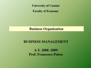 University of Cassino Faculty of Economy