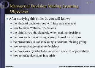 Managerial Decision Making Learning Objectives