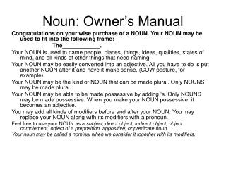 Noun: Owner's Manual