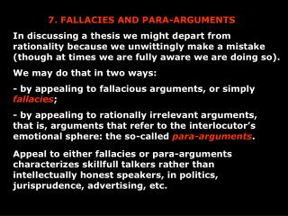 7. FALLACIES AND PARA-ARGUMENTS