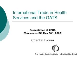 International Trade in Health Services and the GATS