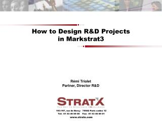How to Design R&D Projects in Markstrat3