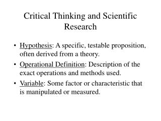 Critical Thinking and Scientific Research