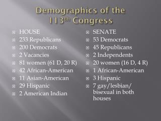 Demographics of the  1 13 th  Congress