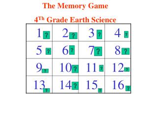 The Memory Game 4 Th Grade Earth Science