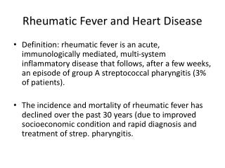 Rheumatic Fever and Heart Disease