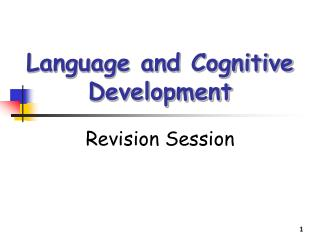 Language and Cognitive Development