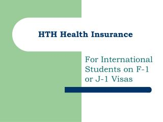 HTH Health Insurance For International Students on F-1 or J-1 ...
