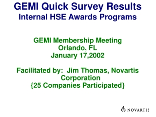 GEMI Quick Survey Results Internal HSE Awards Programs