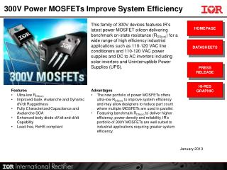 300V  Power MOSFETs Improve System Efficiency