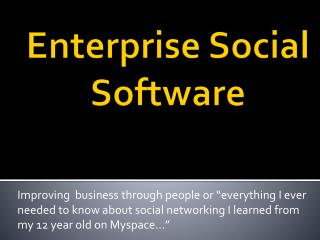 Enterprise Social Software
