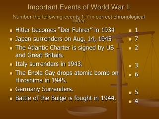 Important Events of World War II Number the following events 1-7 in correct chronological order