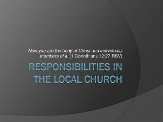 Responsibilities In The Local Church