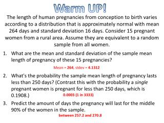 What are the mean and standard deviation of the sample mean length of pregnancy of these 15 pregnancies?