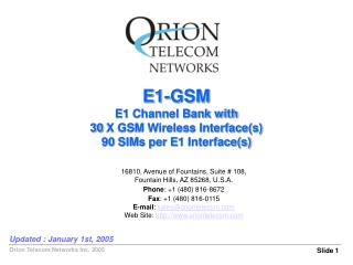 E1-GSM E1 Channel Bank with 30 X GSM Wireless Interface(s) 90 SIMs per E1 Interface(s)