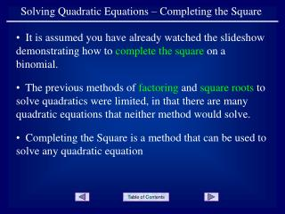 Solving Quadratic Equations – Completing the Square