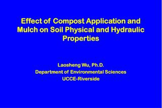 Effect of Compost Application and Mulch on Soil Physical and Hydraulic Properties