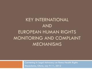 KEY International  and  European human rights monitoring and complaint mechanisms