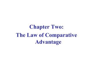 Chapter Two: The Law of Comparative Advantage