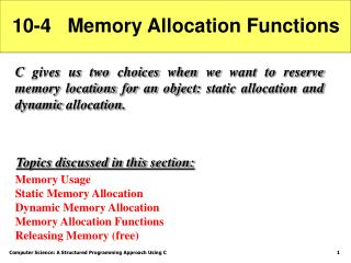 10-4   Memory Allocation Functions