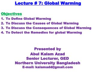 Lecture # 7: Global Warming