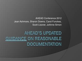 AHEAD's Updated  Guidance  on Reasonable Documentation