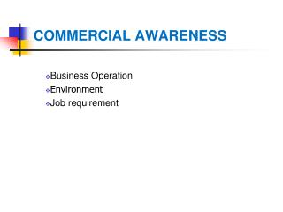 COMMERCIAL AWARENESS