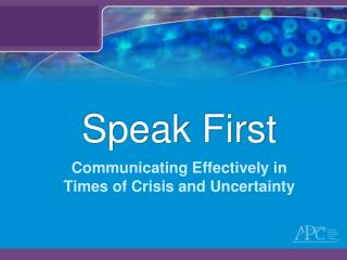 Speak First