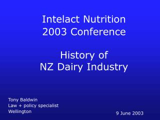 History of  NZ Dairy Industry